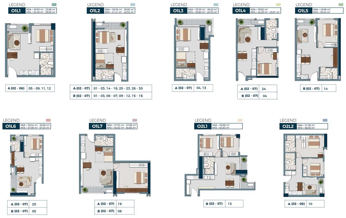 các loại diện tích căn hộ Lancaster Lincoln quận 4