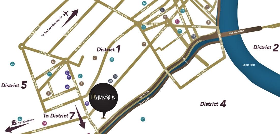 vị trí dự án D1 Mension tại 608 Võ Văn Kiệt, quận 1