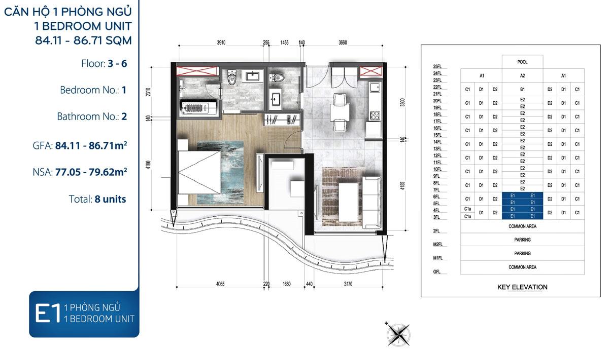 Mẫu thiết kế 1 phòng ngủ dự án Waterina Suites quận 2
