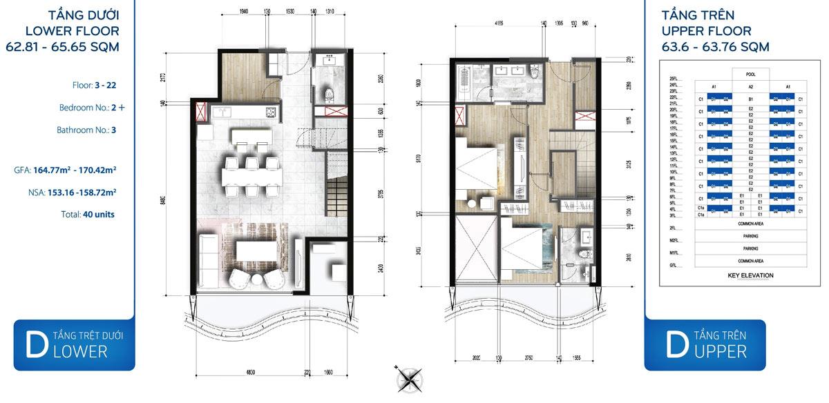 Mẫu thiết kế 2 phòng ngủ Duplex dự án Waterina Suites quận 2