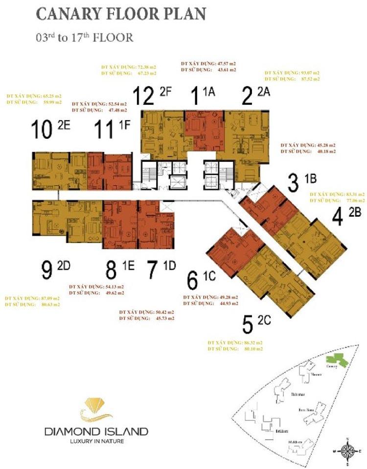 Mặt bằng tháp Canary dự án căn hộ đảo Kim Cương quận 2