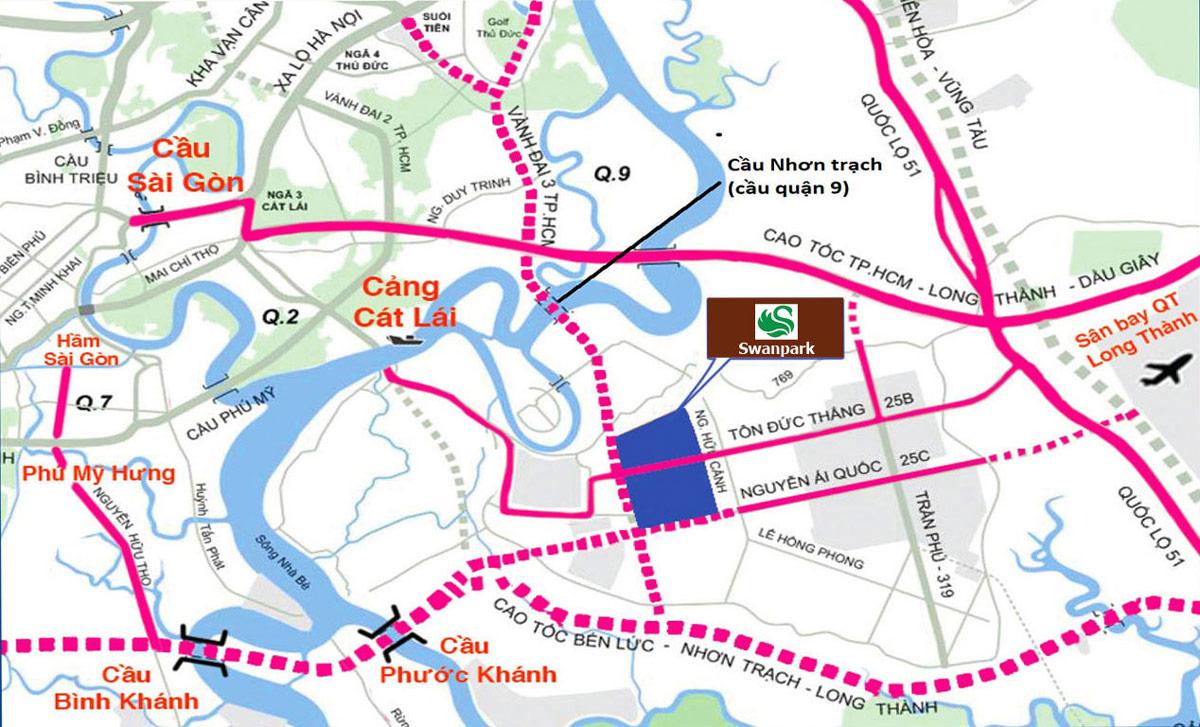 Vị trí dự án Swan Park tại Đồng Nai