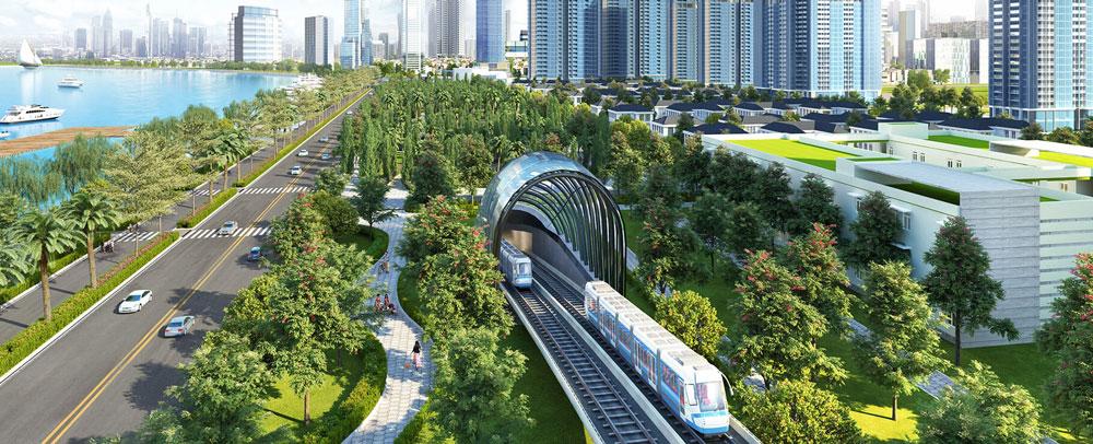 tuyến metro số 1 ngay trong lòng dự án Vinhomes Golden River quận 1