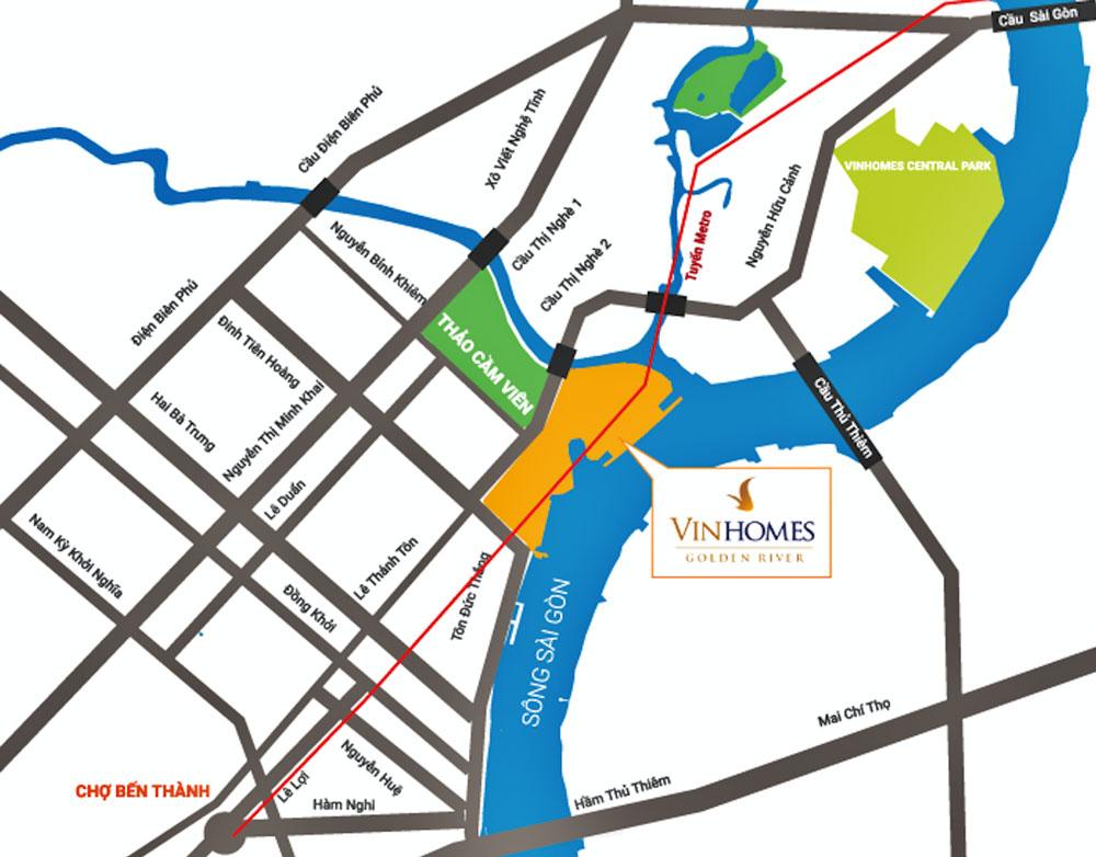 Vị trí dự án Golden River Tôn Đức Thắng quận 1